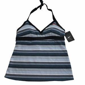 Nike Tankini Swimsuit Top Size 10 Gray Black NEW